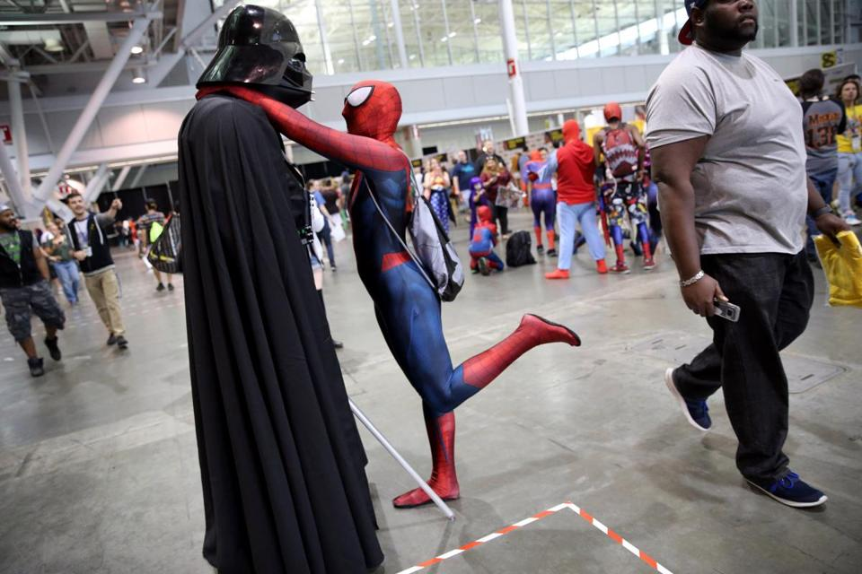Dino Serbula, as Darth Vader, shared a moment with Amanda Granato, as Spider-Man. The couple has been dating for two years.