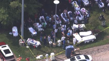 Patients outside of Exeter Hospital in New Hampshire after the emergency department was evacuated.