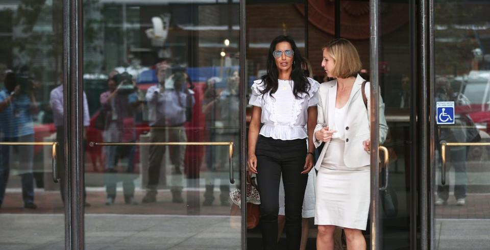 Padma Lakshmi (left) testified at the John Joseph Moakley Courthouse in the Teamsters extortion trial.
