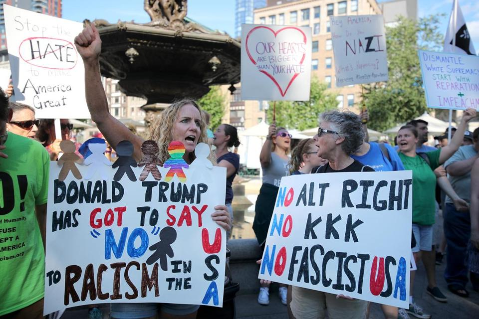 A vigil in support of peaceful anti-fascist protesters in Charlottesville, Va., was held on Boston Common on Sunday.