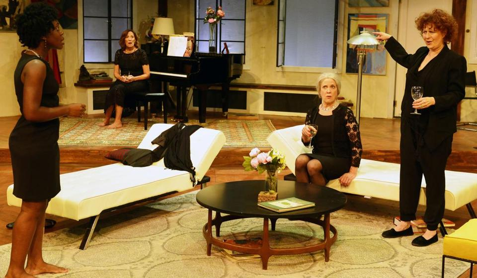 "From left: Obehi Janice, Sarah Hickler, Debra Wise, and Paula Plum in ""Out of the Mouths of Babes"" at Gloucester Stage."