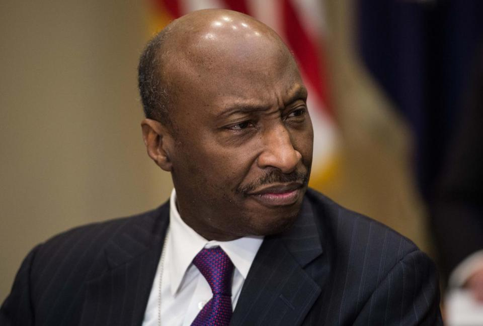 (FILES) This file photo taken on January 31, 2017 shows Kenneth Frazier, CEO of pharmaceutical company Merck, attending a meeting between US President Donald Trump and leaders of the pharmaceutical industry in the Roosevelt Room at the White House in Washington, DC. President Donald Trump lambasted Merck's CEO on August 14, 2017 after the African-American pharmaceutical executive resigned from a White House advisory council, citing Trump's controversial response to a violent white supremacist rally. Merck chief executive Kenneth Frazier, alluding to Trump's much-criticized response to a deadly weekend white supremacist protest, said he was exiting Trump's American Manufacturing Council. / AFP PHOTO / NICHOLAS KAMMNICHOLAS KAMM/AFP/Getty Images