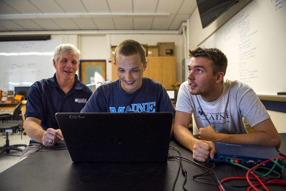 15maineballoon - The UMaine High Altitude Ballooning group will be at Clemson University on Aug. 21 to live stream the total solar eclipse. From left are Rick Eason, assistant professor of electrical and computer engineering; Cameron Sullivan, a computer engineering major; and Derek Haas, an electrical engineering major. (University of Maine)