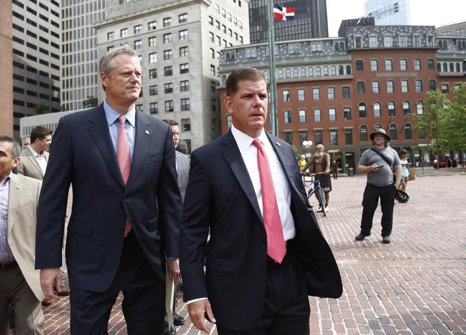 "Governor Baker and Mayor Walsh arrive at a press conference to address Saturday's ""Boston Free Speech"" rally."