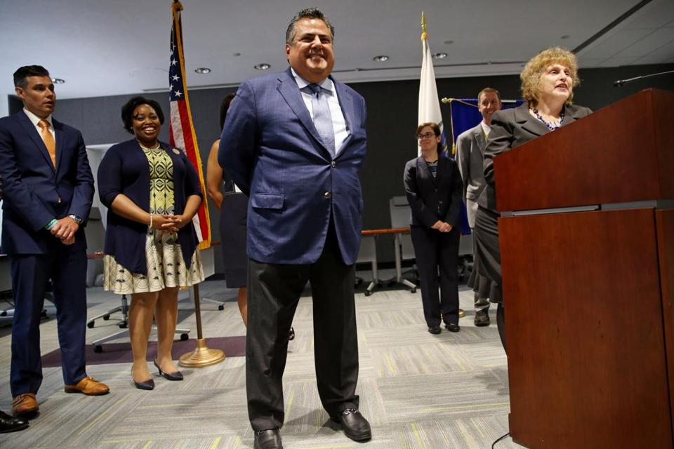The new MBTA General Manger/CEO Luis Ramirez, left, and Secretary of Transportation and MassDOT CEO Stephanie Pollack took questions from the media during a press conference at the State Transportation Building on Tuesday.