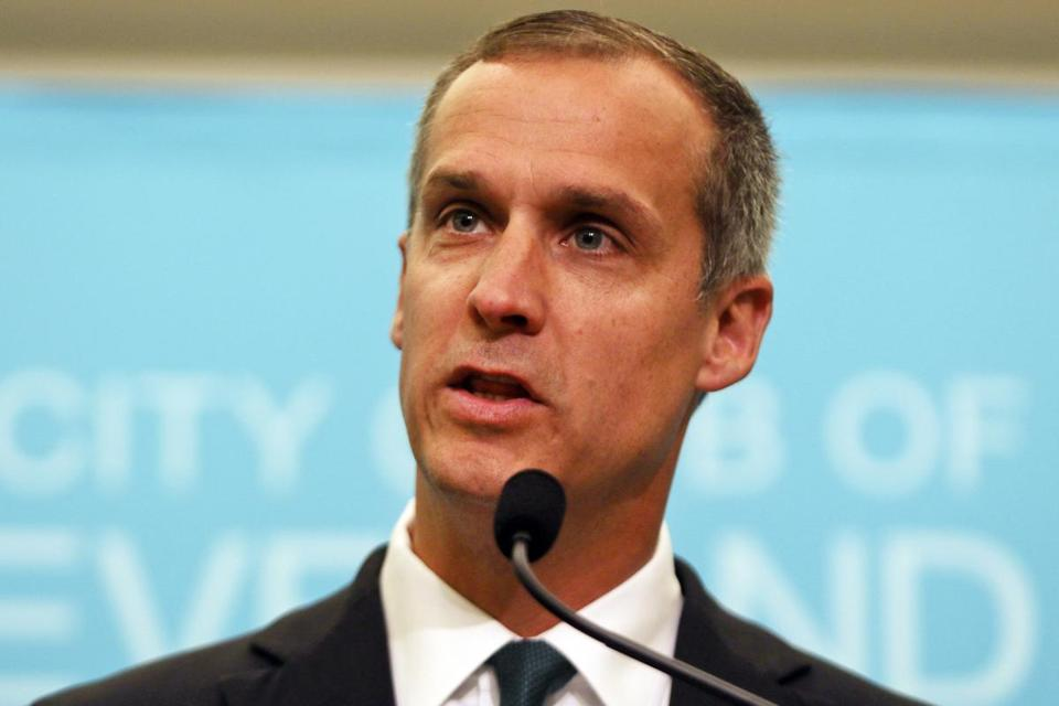 "File-This Aug. 3, 2017 file photo shows Corey Lewandowski, former campaign manager for President Donald Trump, speaking at the City Club of Cleveland, in Cleveland. Neighbors of Lewandowski say he harassed them in a land dispute and threatened to use his ""political clout"" to make their life ""a nightmare."" Glenn and Irene Schwartz countersued Lewandowski this month after he filed a $5 million lawsuit in July over access to a pond-front property in Windham, New Hampshire.(AP Photo/Dake Kang, File)"