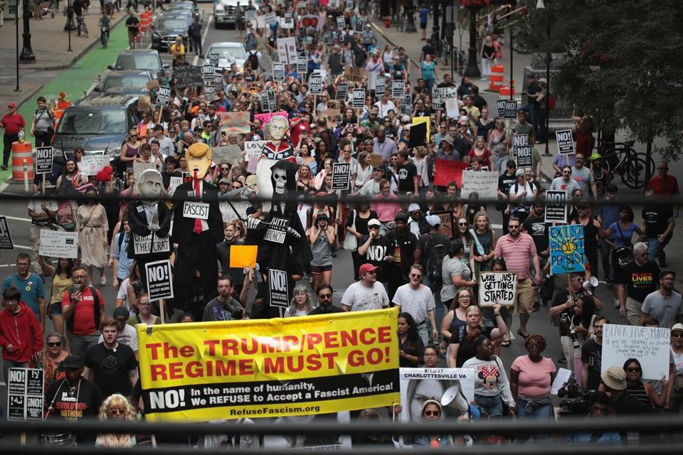 Demonstrators marched in Chicago on Sunday to protest the alt-right movement and to mourn the victims of the rally in Charlottesville, Va.