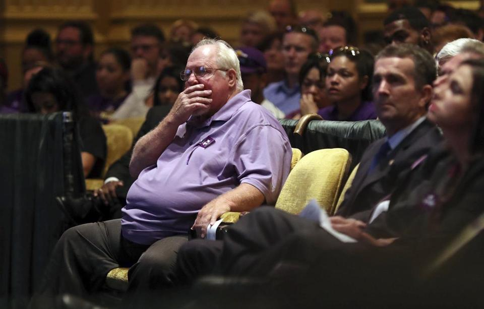 CHARLOTTESVILLE, VA - AUGUST 16: Mark Heyer, the father of Heather Heyer, gets emotional during a memorial service for his daughter at the Paramount Theater on August 16, 2017 in Charlottesville, Va. Heyer was killed Saturday, when a car rammed into a crowd of people protesting a white nationalist rally. (Photo by Andrew Shurtleff-Pool/Getty Images)