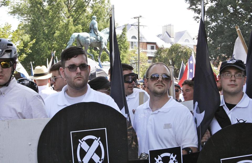 James Alex Fields Jr., second from left, at a white supremacist rally on Saturday in Charlottesville, Va.