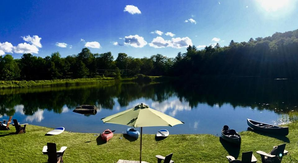 Copper Pond is the spot to swim, kayak, or fish at Twin Farms resort in Vermont.