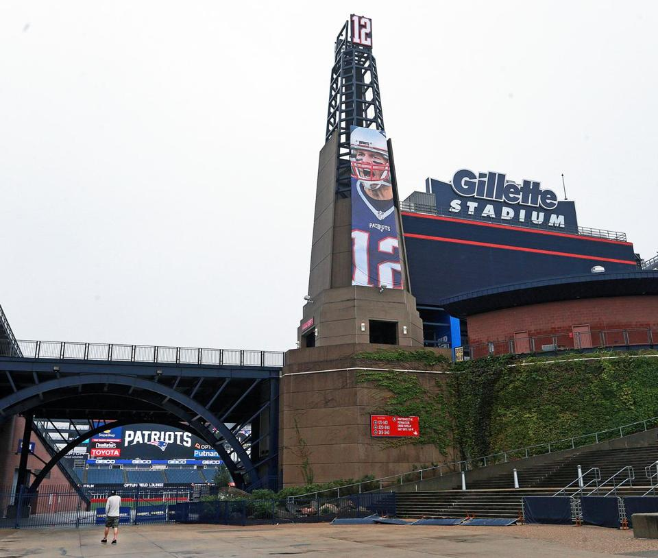 09/06/16: Foxborough, MA: The giant photo of Tom Brady that is on the lighthouse at Gillette Stadium is pictured. The New England Patriots held a practice session on the fields behind Gillette Stadium this afternoon as they continue preparations for their season opener in Arizona on Sunday night. (Globe Staff Photo/Jim Davis) section: sports topic: Patriots