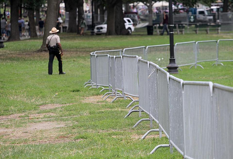 Barricades were set up surrounding the bandstand on the Boston Common in advance of the weekend rally.