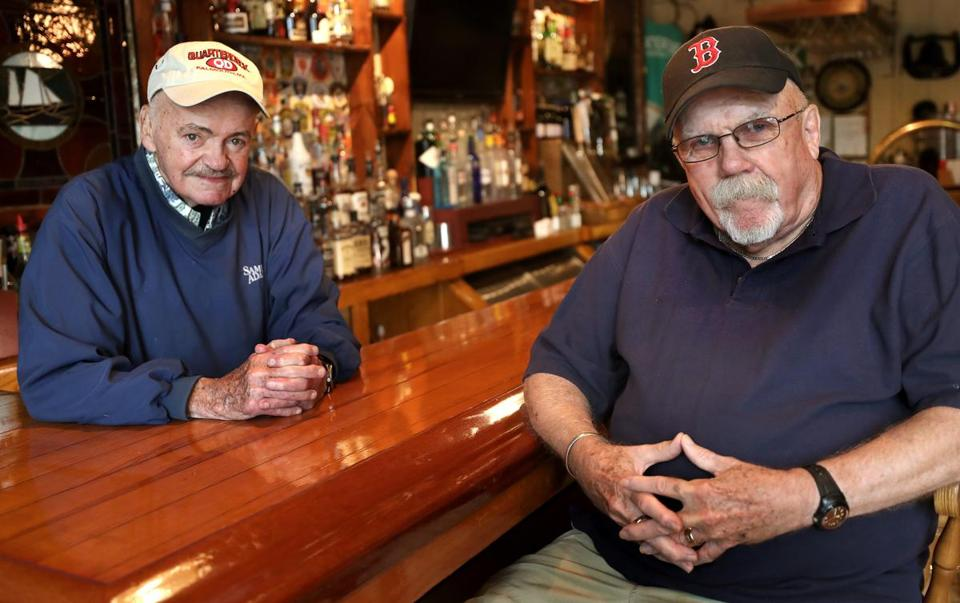 Eddie Doyle, the model for Sam Malone of 'Cheers' fame (right) and Tommy Leonard, who worked the bar at the Eliot Lounge.