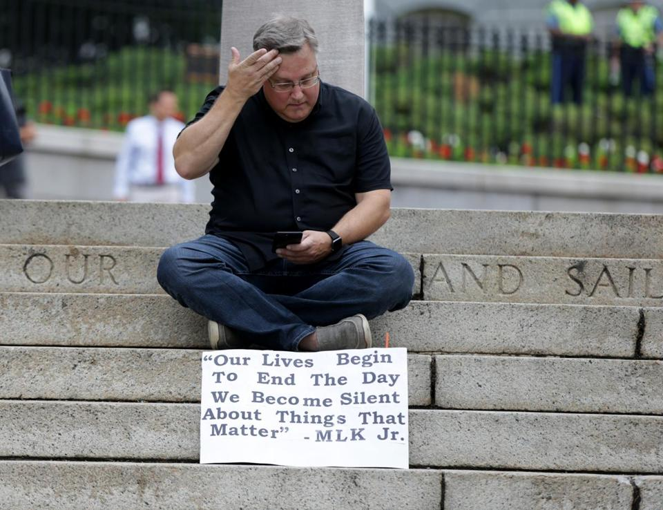08/19/2017 Boston Ma-John Waters (cq) with his sign at the Free Speech Rally on Boston Common. Jonathan Wiggs\Globe Staff Reporter:Topic.