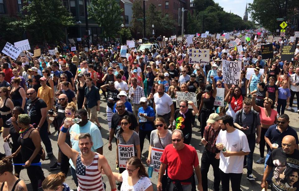 Boston, MA - 08/19/2017 - The counterprotest march makes it way down Tremont Street. (John Tlumacki/Globe Staff) Reporter: Topic: