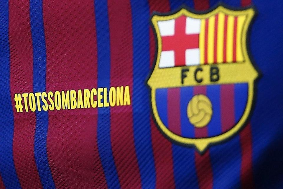 Detail of the jersey of Barcelona´s players in tribute to the victims of  the terrorist attacks during the Spanish Primera Division soccer game  between FC ... ab9825941
