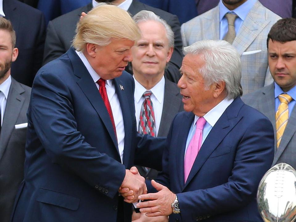 Robert Kraft (right) shook hands with President Donald Trump when the Patriots visited the White house in April.