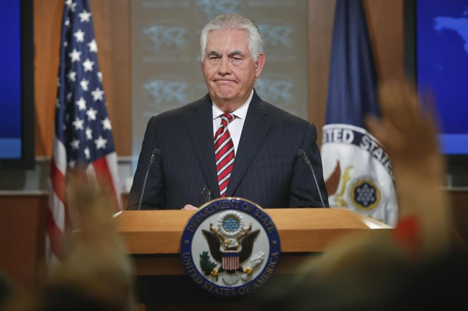 Secretary of State Rex Tillerson pauses as he takes questions from members of the media while speaking at the State Department in Washington, Tuesday, Aug. 22, 2017, to discuss Afghanistan. (AP Photo/Pablo Martinez Monsivais)