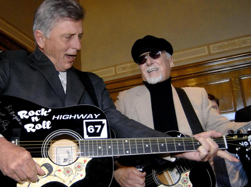 In 2009, rockabilly musician Sonny Burgess (right) jammed with Arkansas Governor Mike Beebe. His first and most popular songs were released in 1956.