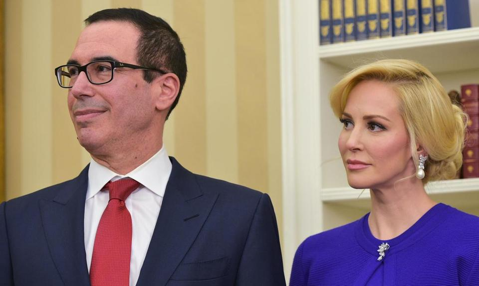 Steven Mnuchin (left) and his wife, Louise Linton.