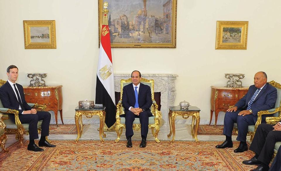 "A handout picture released by the Egyptian Presidency on August 23, 2017 shows President Abdel Fattah al-Sisi (C) meeting with Senior White House Advisor Jared Kushner (L), accompanied by Egyptian Foreign Minister Sameh Shoukry (R) at the presidential palace in the capital Cairo. / AFP PHOTO / EGYPTIAN PRESIDENCY AND AFP PHOTO / Handout / === RESTRICTED TO EDITORIAL USE - MANDATORY CREDIT ""AFP PHOTO / HO / EGYPTIAN PRESIDENCY' - NO MARKETING NO ADVERTISING CAMPAIGNS - DISTRIBUTED AS A SERVICE TO CLIENTS ===HANDOUT/AFP/Getty Images"