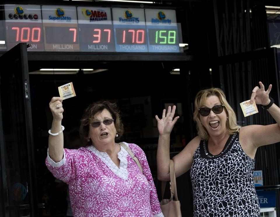 Sharon Sutton, left, and Noreen Mason left a liquor store in Costa Mesa, Calif., on Wednesday with their Powerball tickets.