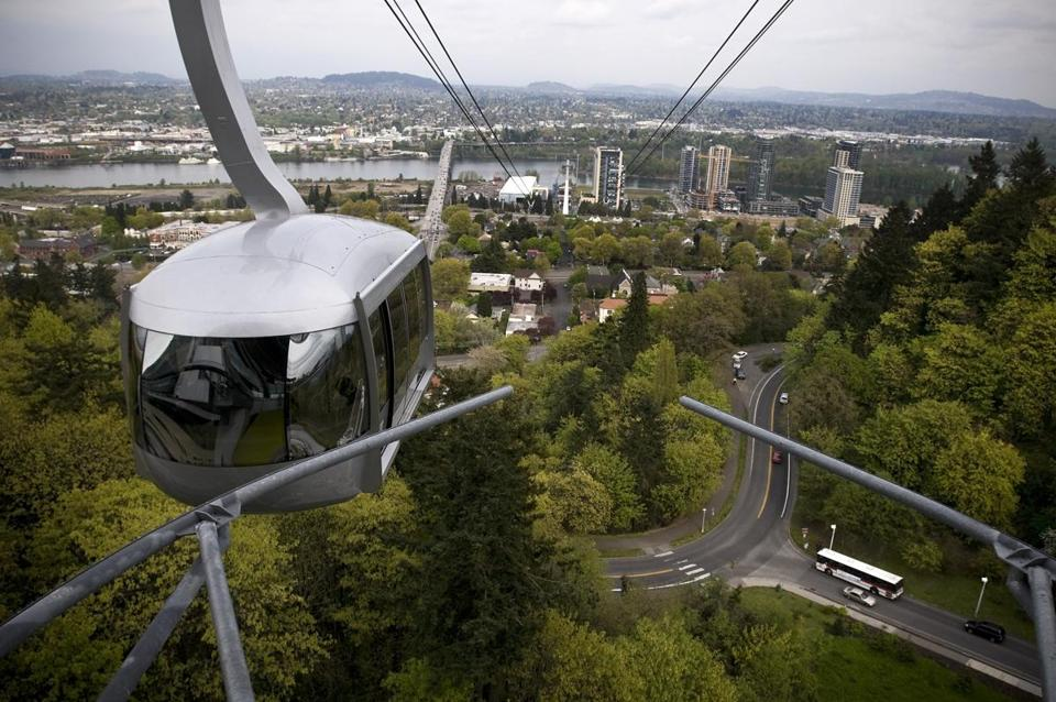 An aerial tram in Portland, Ore. Could a similar contraption be headed for the Seaport?