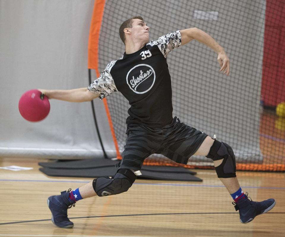 Michael McGee rears back and lets it fly at the Elite Dodgeball National Championships.