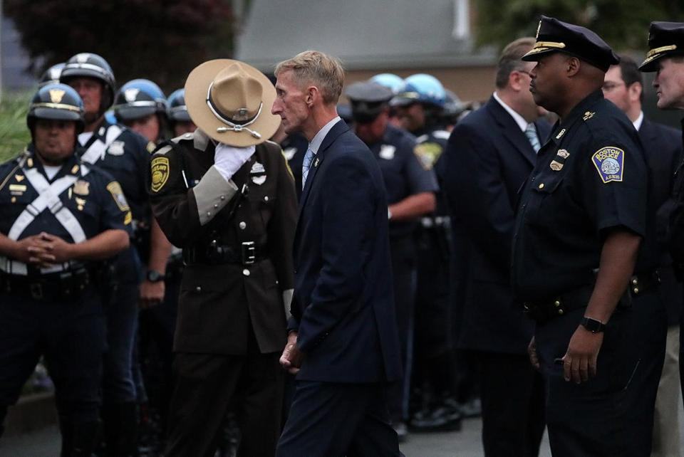 Randolph, MA - 8/29/2017 - Boston Police Commissioner William Evans and Superintendent-in-Chief William Gross among other public officials, attended the wake for Boston EMS Captain Robert Haley at Cartwright Funeral Home in Randolph. - (Barry Chin/Globe Staff), Section: Metro, Reporter: Unknown, Topic: 30EMS, LOID: 8.3.3573017295.