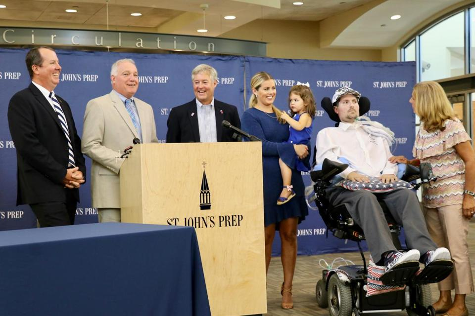 Pete Frates was honored at a press conference with his wife, daughter, mother, and father and St. John's headmaster Edward Hardiman and athletic director Jim O'Leary.