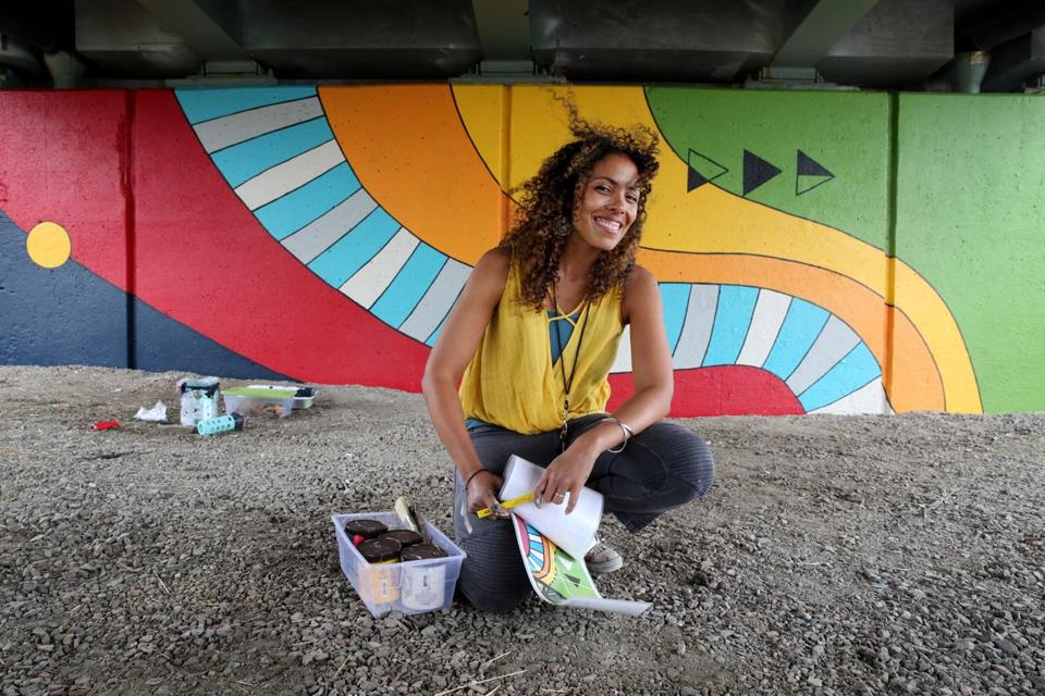 "Local artist Silvia López Chavez painted the mural ""Patterned Behavior"" along the Paul Dudley White bike path on the Charles River Esplanade."