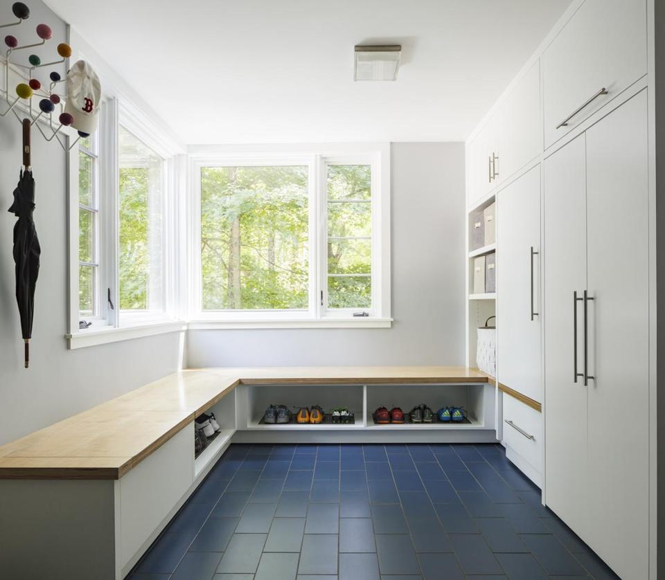 The cabinets in the mudroom are paint-grade birch topped with ApplePly, a high-quality plywood that doesn't need trim.