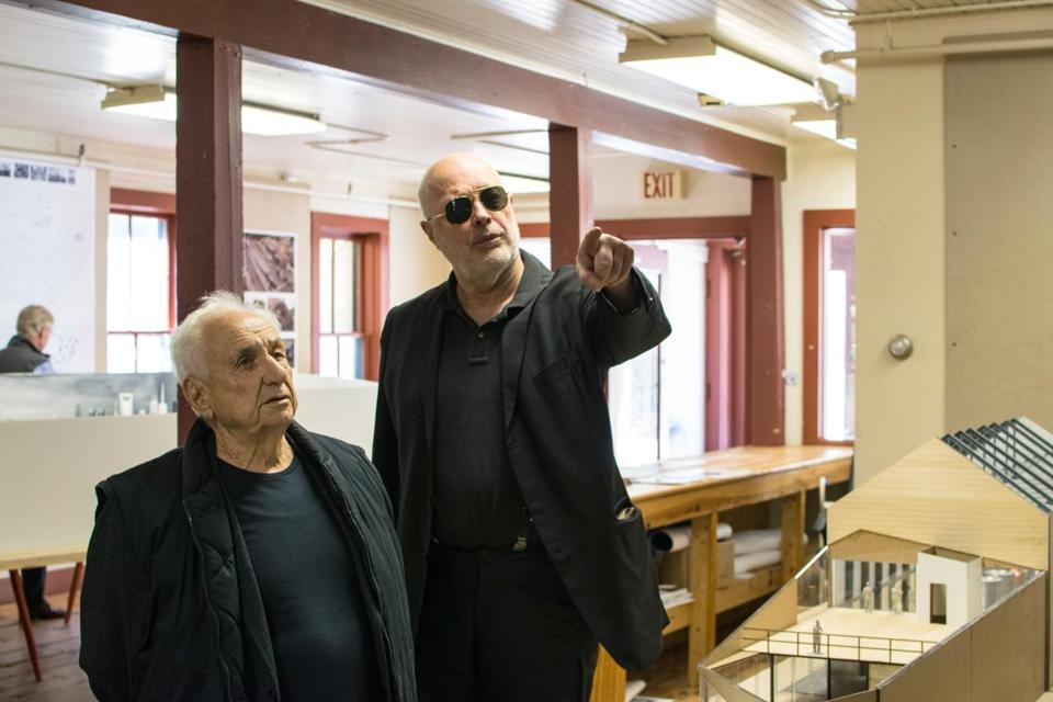 Renowned architect Frank Gehry (left) was in North Adams Friday to visit what supporters hope will become the future site of the Extreme Model Railroad and Contemporary Architecture Museum.