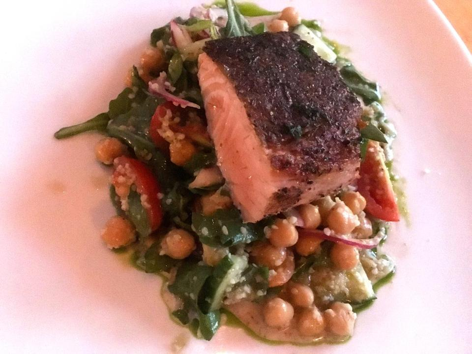 10nodine - Salmon (half portion) at 5 Corners Kitchen in Marblehead. (Doug Stewart for The Boston Globe)