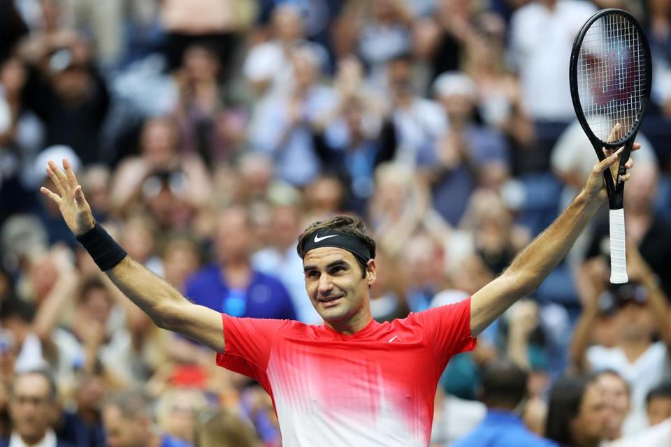 NEW YORK, NY - AUGUST 31: Roger Federer of Switzerland celebrates defeating Mikhail Youzhny of Russia during their second round Men's Singles match on Day Four of the 2017 US Open at the USTA Billie Jean King National Tennis Center on August 31, 2017 in the Flushing neighborhood of the Queens borough of New York City. (Photo by Matthew Stockman/Getty Images)
