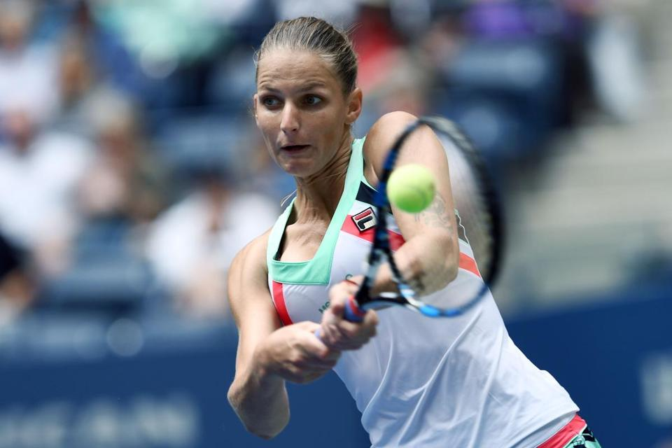The Czech Republic's Karolina Pliskova returns the ball to China's Shuai Zhang during their 2017 US Open Women's Singles match at the USTA Billie Jean King National Tennis Center in New York on September 2, 2017. Pliskova advanced to the fourth round of the US Open with a 3-6, 7-5, 6-4, win. / AFP PHOTO / Jewel SAMADJEWEL SAMAD/AFP/Getty Images