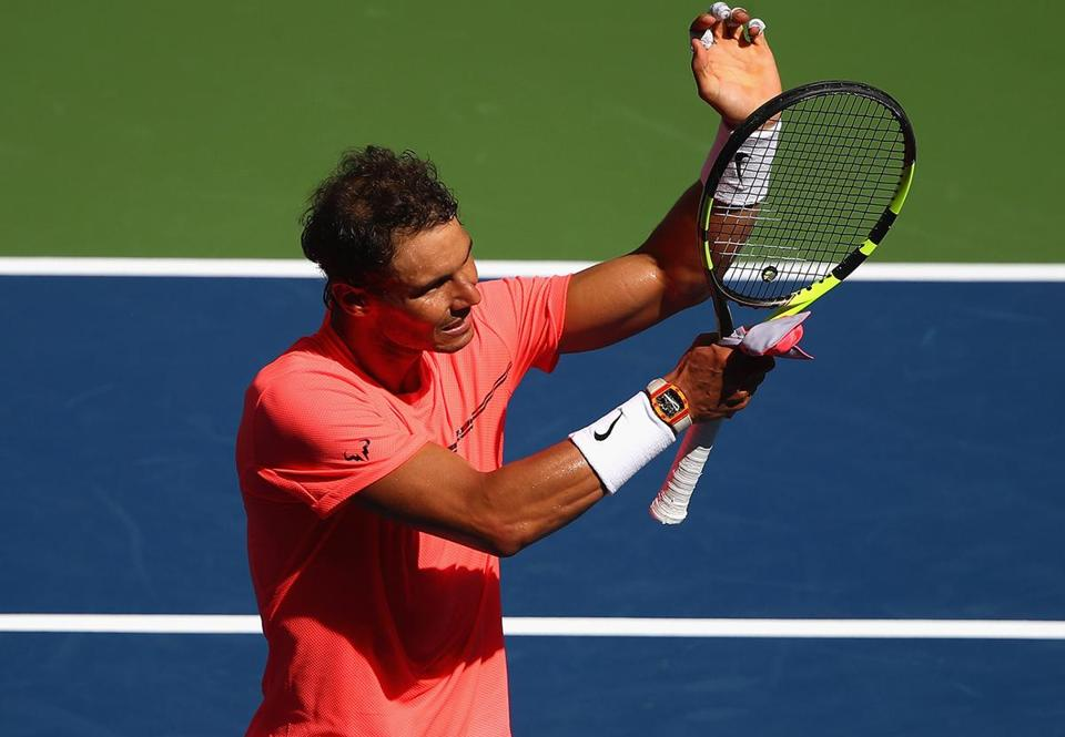 NEW YORK, NY - SEPTEMBER 04: Rafael Nadal of Spain celebrates defeating Alexandr Dolgopolov of Ukraine after their fourth round Men's Singles match on Day Eight of the 2017 US Open at the USTA Billie Jean King National Tennis Center on September 4, 2017 in the Flushing neighborhood of the Queens borough of New York City. (Photo by Clive Brunskill/Getty Images)