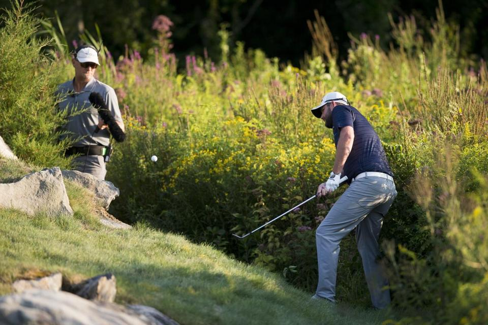 Norton, MA - 9/4/17 - Marc Leischman hits his ball out of the weeds on the 18th hole during the fourth round of the Dell Technologies Championship at the TPC Boston on Sunday, September 4, 2017. (Nicholas Pfosi for The Boston Globe) Topic: Sports