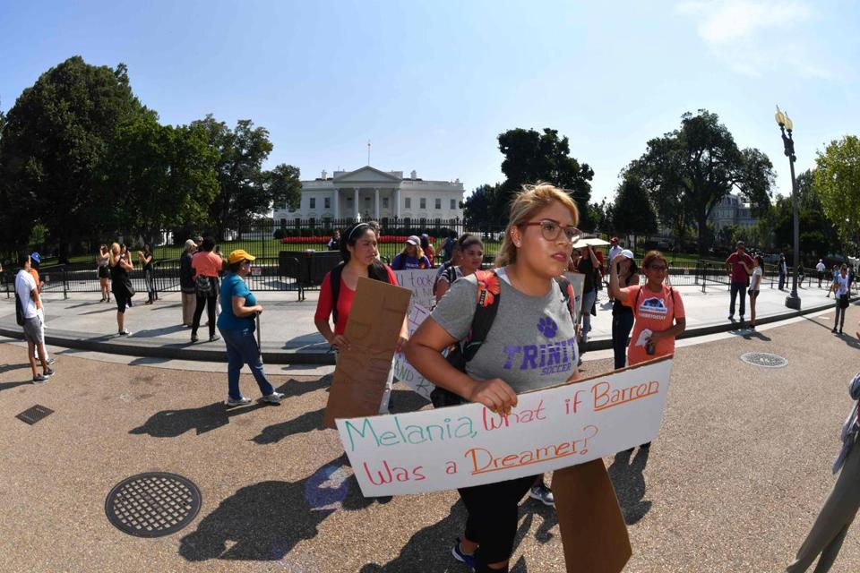 Immigrants and supporters demonstrated during a rally in support of the Deferred Action for Childhood Arrivals (DACA) program in front of the White House on September 5.