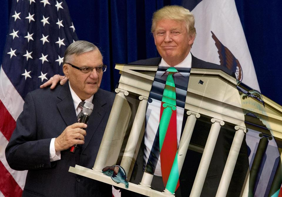 Donald Trump, right, and former sheriff Joe Arpaio.