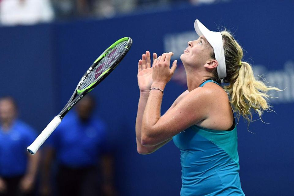 CoCo Vandeweghe of the US celebrates defeating Czech Republic's Karolina Pliskova during their 2017 US Open Women's Singles Quarterfinal match at the USTA Billie Jean King National Tennis Center in New York on September 6, 2017. American 20th seed CoCo Vandeweghe reached the US Open semi-finals Wednesday with a 7-6 (7/4), 6-3 win over Karolina Pliskova as the Czech player lost her world number one ranking to Garbine Muguruza. / AFP PHOTO / Jewel SAMADJEWEL SAMAD/AFP/Getty Images