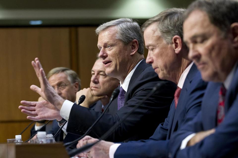 Baker and four other governors testified before the US Senate health committee Thursday.