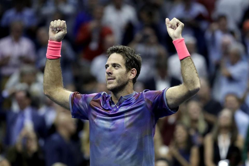 Juan Martin del Potro, of Argentina, reacts after defeating Roger Federer, of Switzerland, during the quarterfinals of the U.S. Open tennis tournament, Wednesday, Sept. 6, 2017, in New York. (AP Photo/Julio Cortez)