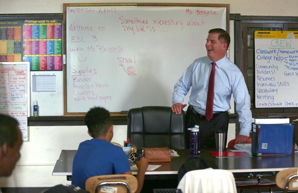Boston Mayor Martin J. Walsh visited the Brighton High classroom of teacher Martha Boisselle earlier this month.