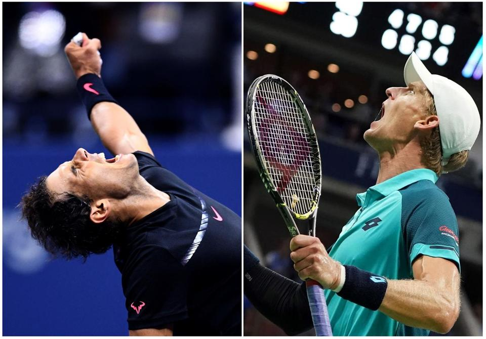 TOPSHOT - This combination of photos taken on September 8, 2017 shows Spain's Rafael Nadal (L) and South Africa's Kevin Anderson celebrating after winning their 2017 US Open Men's Singles Semifinals matches at the USTA Billie Jean King National Tennis Center in New York. World number one Rafael Nadal powered into his 23rd career Grand Slam final on Friday, routing Argentina's 24th-seeded Juan Martin del Potro 4-6, 6-0, 6-3, 6-2 at the US Open. / AFP PHOTO / Jewel SAMAD AND Don EMMERTJEWEL SAMAD,DON EMMERT/AFP/Getty Images