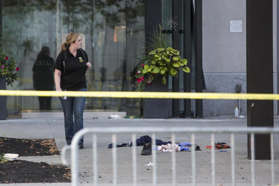 Police investigate the scene of a multiple shooting on Technology Square in Cambridge on Sunday, Sept. 10, 2017. (Scott Eisen for The Boston Globe)