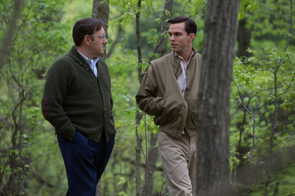 "Nicholas Hoult (right) plays J.D. Salinger and Kevin Spacey is his creative writing professor in ""Rebel in the Rye."""
