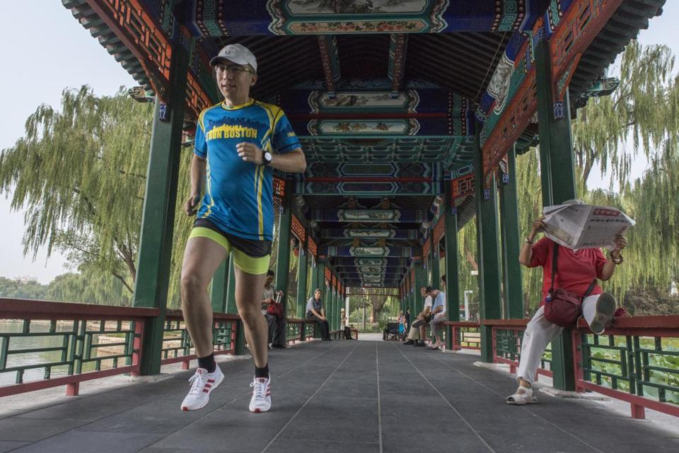 Wang Le on Friday trained at Longtanhu Park in Beijing for the Beijing marathon. Wang, a Beijing running app developer, has ran Boston four times.