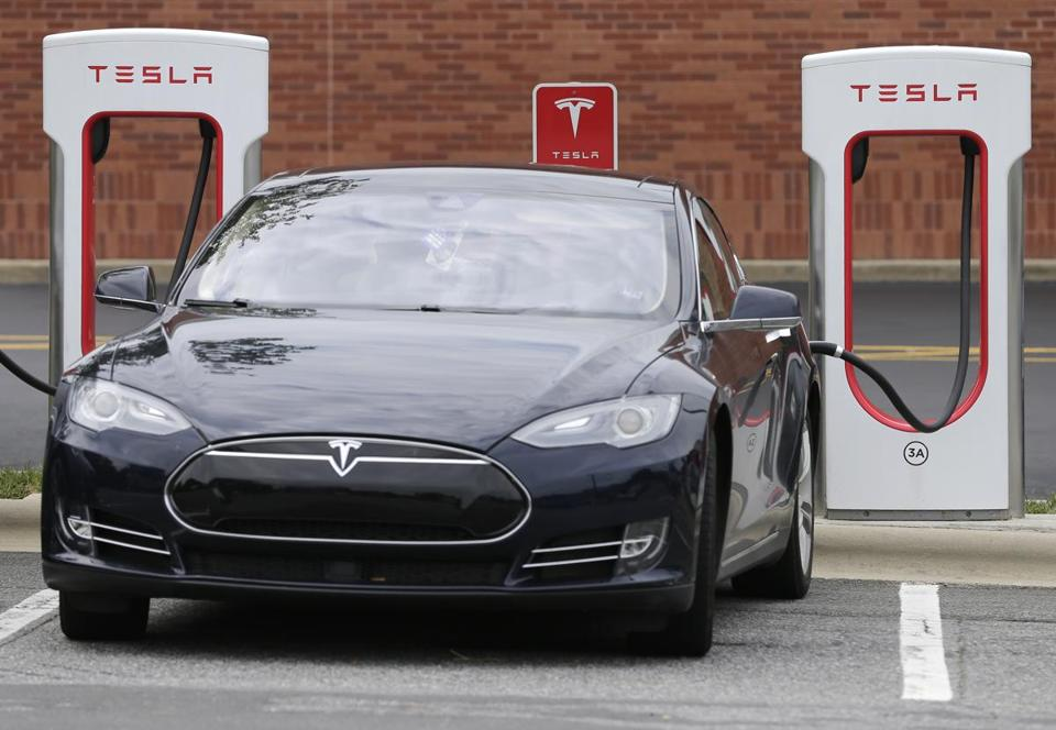 Tesla hopes to spur sales among those who lack garages. Above, a charging station in Charlotte, N.C.