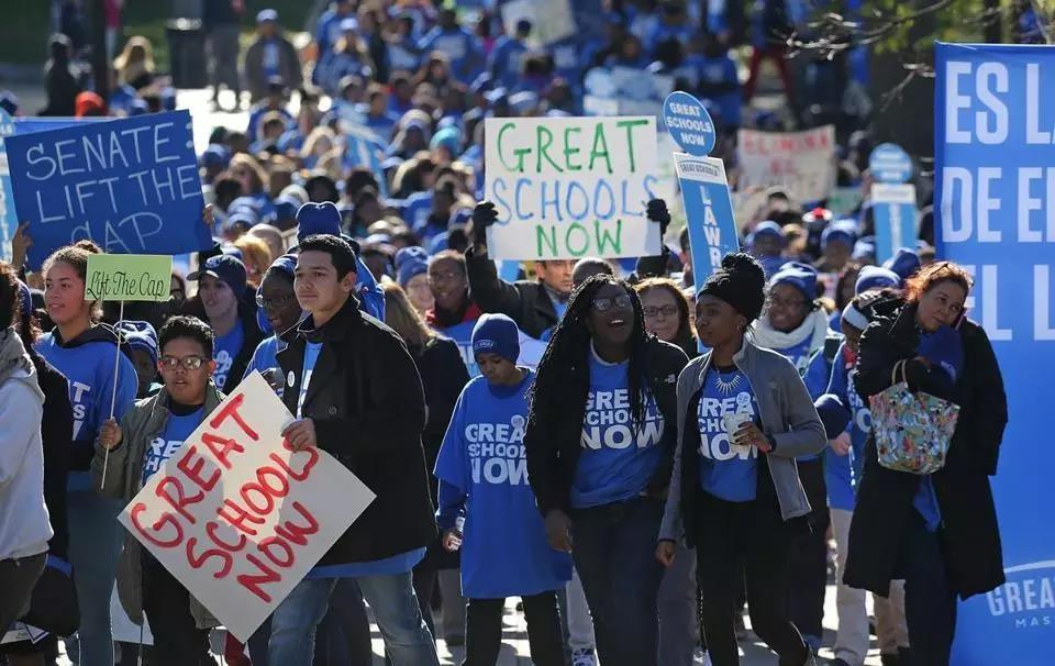 Charter school backers rallied on Boston Common by the State House last fall.